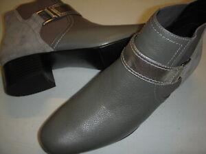 LOGO Lori Goldstein Sharon Leather Ankle Boots w/Strap Women's 8.5 M Grey 8.5M ~