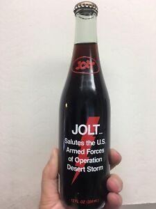 VINTAGE FULL JOLT COLA BOTTLE: SALUTES U.S. MILITARY DESERT STORM