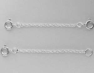 1x 925 Sterling Silver Prince of Wales Rope Extender Safety Chain MULTI SIZES