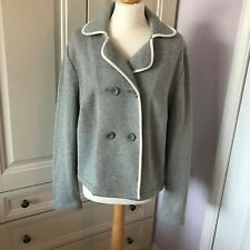 Boden Grey Double Breasted Jersey Blazer Jacket White Piping UK 18