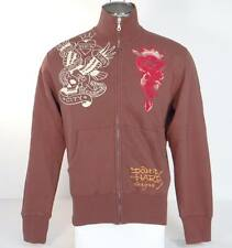Ed Hardy New York City Tattoo Graphics Brown Zip Front Track Sweat Jacket Men's