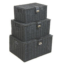 Arpan Black Resin Woven Hamper Storage Basket Box With Lid & Lock  In 3 Size