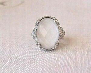 Judith Ripka Sterling Silver White Quartz Doublet Size 5 Ring