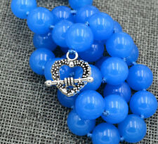 "Natural 12mm Blue sapphire jade Necklace 18 "" Tibetan silver love clasps"