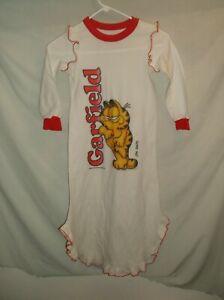 VTG 80's GIRLS Junior GARFIELD night dress cat white shirt sleep clothing top