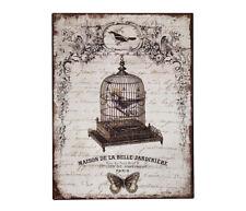 Blechschild Vogelkäfig Paris Dekoschild Nostalgie Vintage 33x25cm