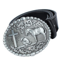 Western Cowboys Mens Leather Cross Rider Knight Buckle Belt Casual