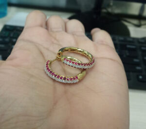 1.50Cttw Round-Cut Ruby & Real Diamond 10k Yellow Gold Over Hoop Earrings