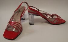 Vintage Annie Red Dress Shoes with Lucite Heels - Size 7W