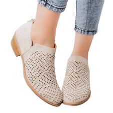 UK Womens Chelsea Buckle Boots Warm Zipper Low Mid Block Heel Casual Shoes Sizes