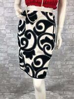 Marc Jacobs New Runway Black Gray 100% Silk Dress Pencil Skirt 8 10 US 46 IT M