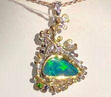 Estate Find Natural Australian Black Green Fire Opal Tourmalin Ladies Pendant