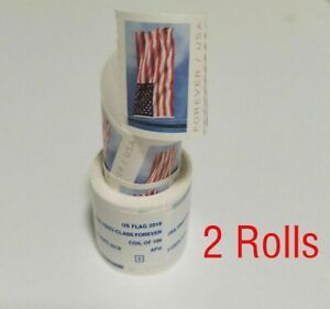 2019 USA FOREVER American Flag 2 Rolls of 100 Flag - Unopened! US FREE SHIPPING