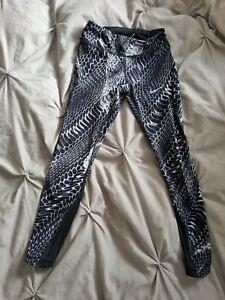Womens NIKE DRI-FIT Grey Black Print Gym Tights Activewear  Size XS