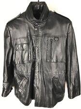 STRATOJAC Men's Leather Car Coat Jacket Size XL  Black Insulated