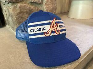 Atlanta Braves Vtg 70s 80s AJD SuperStripe Split Bar Snapback Cap Hat Trucker