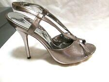 NEW JESSICA BENNETT Jmyla Pewter Metallic Sandal Slingback Stiletto Heels 9.5 M