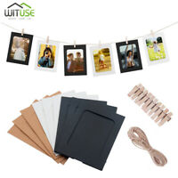 10/30Pcs Paper Photo DIY Wall Picture Hanging Frame Album Rope Wood Clips Set A