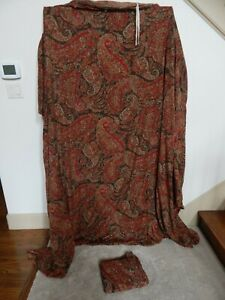 3 Pc Set POTTERY BARN Red Floral King Duvet Cover & Shams!  Cotton Linen Blend