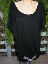 CROSSROADS Black TUNIC Top -B&W Faux Belt Trim Size 14-M NEW rrp$39.95. S/Sleeve