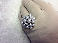 HONORA CULTURED PEARL STAINLESS STEEL ROUND CLUSTER RING, SZ 8 (M640-7-28)