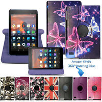 New Flip Leather 360° Rotating Smart Stand Case Cover For Amazon Fire HD 7 8 10
