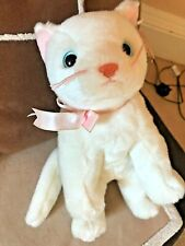 """Ty Beanie Buddies FLIP White CAT Excellent Condition swing tag 12"""" + Tail"""