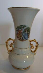 Vintage Abingdon Pottery USA Urn Vase Victorian Scene Mid Century Gold Trim #520