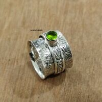 Peridot Ring Solid 925 Sterling Silver Spinner Ring Meditation Ring Size J ra100