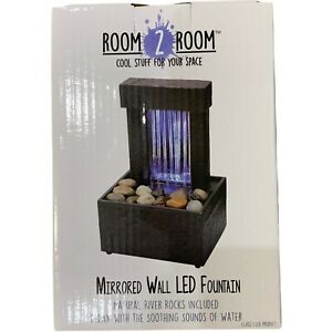 Room 2 Room Mirrored Wall LED Fountain~River Rocks~Water Sound~2AA or 3 Volt~NEW