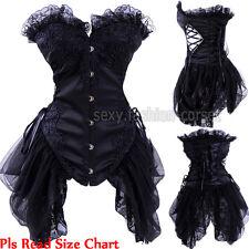 Ladies Burlesque Gothic Black Waist Corset & Skirt Vampire Fancy Dance Dress UPS