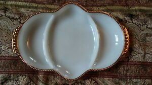 Vintage Fire King Gold Rimmed And White Milk Glass Candy Dish 3 Sections