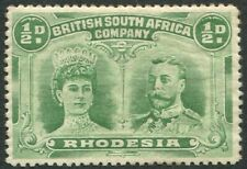 RHODESIA-1910-13 ½d Light Green Group Double Head LIGHTLY MOUNTED MINT V32496