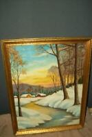 1920s ITALIAN OIL PAINTING WINTER SCENE SNOW GLITTER ACCENT ITALIAN GILT FRAME