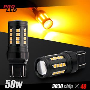 7443 7440 LED Chip 6000K Amber Yellow Front Turn Signal Blinker Light Bulbs
