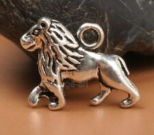 15pcs Tibetan Silver Charms 3D lion Pendant Beads Jewellery Making A3310