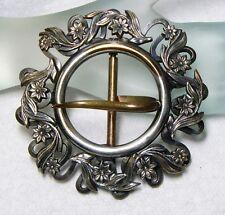 """LG Art Nouveau Victorian Silver Plate & Brass Floral  Sash Belt Buckle 3"""" x 3"""""""