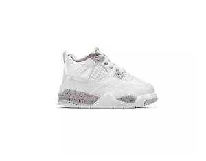 Nike Air Jordan Retro 4 Oreo White Black Tech Grey Gray Fire Red Toddler TD Size