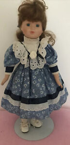 """Vintage """"Rebecca""""  China Doll in pretty blue dress with stand. Approx 17"""" Tall,"""