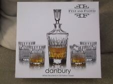 Fitz And Floyd Danbury Whiskey Decanter & 4 Old Fashion Glasses New In Box