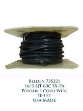 Belden 735221 Black Vinyl 16/3 SJT 60C SX-PA Portable Cord 100FT