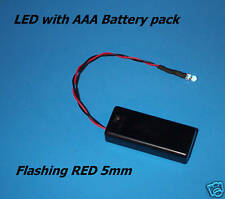 RED FLASHING 5mm LED WITH AAA BATTERY PACK & SWITCH (Halloween / fake car alarm)