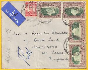 Southern Rhodesia 1953 1d + 4 x 2d Bulawayo Apr 6 to GB