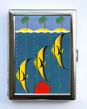 Fish Palm Trees Cigarette Case Wallet Business Card Holder ocean nautical