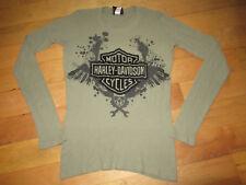 Harley Davidson Women's Long Sleeve Shirt Army Green Small bahamas Skull Logo