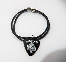 "MOTORHEAD ACE OF SPADES guitar pick plectrum braided LEATHER NECKLACE 20"" black"