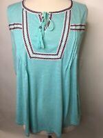 Style & Co Women's Sleeveless Mint Green Tassel Summer Top 1X   B47