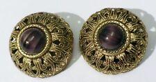boucles d'oreille clips ancienne relief filigrane cabochon mauve * 5018
