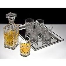 Godinger Dublin 6-Piece Crystal Whiskey Decanter Set (Square-shaped bottle lid)