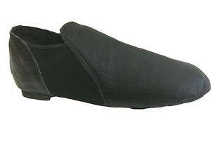 Jazz Modern Dance Black Leather Slip on Shoes Split Sole